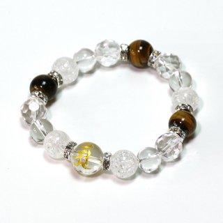 天然石 梵字ブレスレットH〈タイガーアイ・クラック水晶・水晶〉