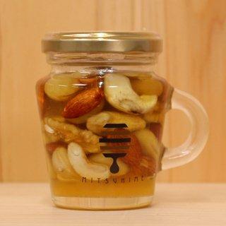 国産はちみつに4種類のナッツがはいった、甘くて健康にも良い|蜜姫ハニーナッツ160g|熊養蜂