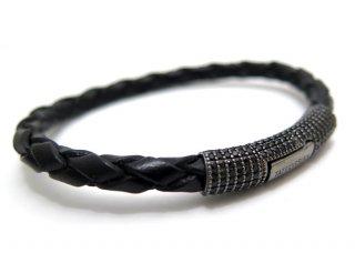 TATEOSSIAN(タテオシアン) ポップペイブ編上げシルバーブレスレット(ブラック)- ブランド