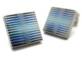 TATEOSSIAN(タテオシアン) チタニウムグラフィックエナメルカフス(ブルー)(カフスボタン/カフリンクス) - ブランド