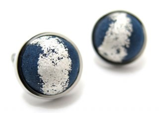 ARTISAN SPIRIT KUROTANI WASHI DOME SILVER LEAF BLUE CUFFLINKS 黒谷和紙ドームカフス(銀箔、ブルー(カフスボタン/カフリンクス)