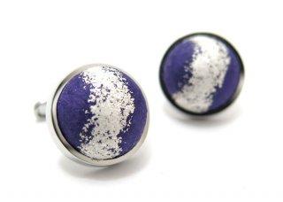 ARTISAN SPIRIT KUROTANI WASHI DOME SILVER LEAF BLUE CUFFLINKS 黒谷和紙ドームカフス(銀箔、パープル(カフスボタン/カフリンクス)