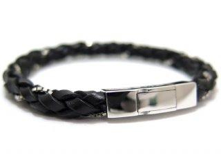 TATEOSSIAN(タテオシアン)シルバー編み上げウィーブブレスレット(ブラック) - ブランド