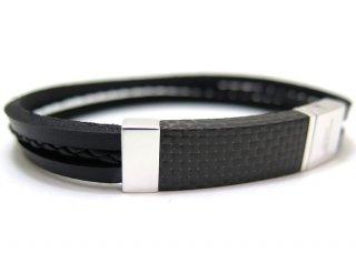 TATEOSSIAN(タテオシアン)シルバーカーボンブレスレット(ブラック) - ブランド