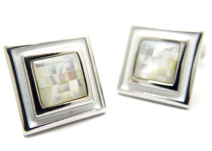 THOMPSON (トンプソン)  モザイクスクエア&エナメルカフス(白蝶貝) (カフスボタン/カフリンクス) - ブランドの画像
