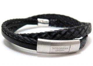 TATEOSSIAN(タテオシアン)レザー シルバーコブラドッピオブレスレット(ブラック) - ブランド