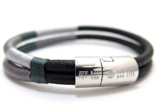 TATEOSSIAN(タテオシアン)レザー シルバーコブラマサイブレスレット(グレートーン) - ブランド