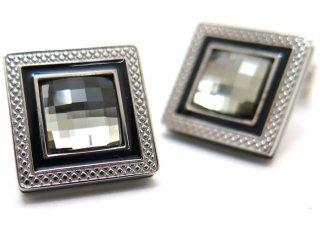 TATEOSSIAN(タテオシアン)クリスタル クアドラートロジウムスワロフスキーカフス(ブラックダイヤモンド) 世界限定303セット(カフスボタン/カフリンクス) - ブランド