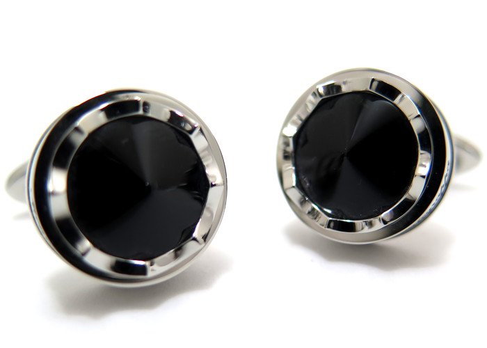 MONTEGRAPPA(モンテグラッパ) パローラカフス(スティール、ブラックグラス)(カフスボタン/カフリンクス) - ブランドの画像