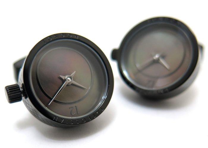 TATEOSSIAN(タテオシアン)メカニカル プレツィオーソ時計カフス(ブラックIP&黒蝶貝)(カフスボタン/カフリンクス) - ブランドの画像