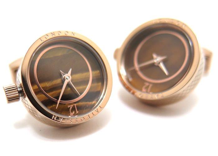 TATEOSSIAN(タテオシアン)メカニカル プレツィオーソ時計カフス(ローズゴールド&タイガーアイ)(カフスボタン/カフリンクス) - ブランドの画像