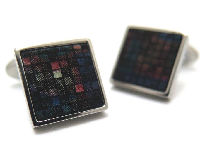 TATEOSSIAN(タテオシアン) チタニウムレザーカフス(ダークマルチカラーモザイク)(カフスボタン/カフリンクス) - ブランドの画像