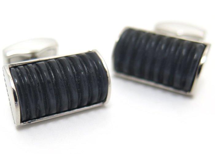 TATEOSSIAN(タテオシアン) ファイバーオプティックグラスDシェイプリブカフス(ブラック) 世界限定12セット(カフスボタン/カフリンクス) - ブランドの画像