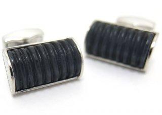 TATEOSSIAN(タテオシアン) ファイバーオプティックグラスDシェイプリブカフス(ブラック) 世界限定12セット(カフスボタン/カフリンクス) - ブランド