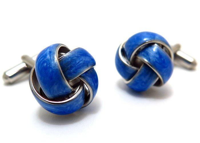 MONART(モンアート) エバーグリーン グリッターノットカフス(ブルー)(カフスボタン/カフリンクス) - ブランドの画像