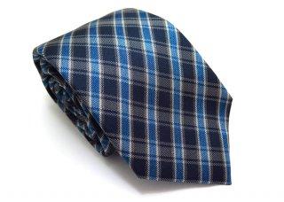 TINO COSMA (ティノコズマ)バイアスチェックシルクタイ(ブルー)(ネクタイ/タイ) - ブランド