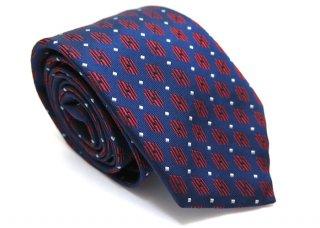 TINO COSMA (ティノコズマ)ラインパラレログラム ジオメトリックパターン シルクネクタイ(ブルー)(ネクタイ/タイ) - ブランド