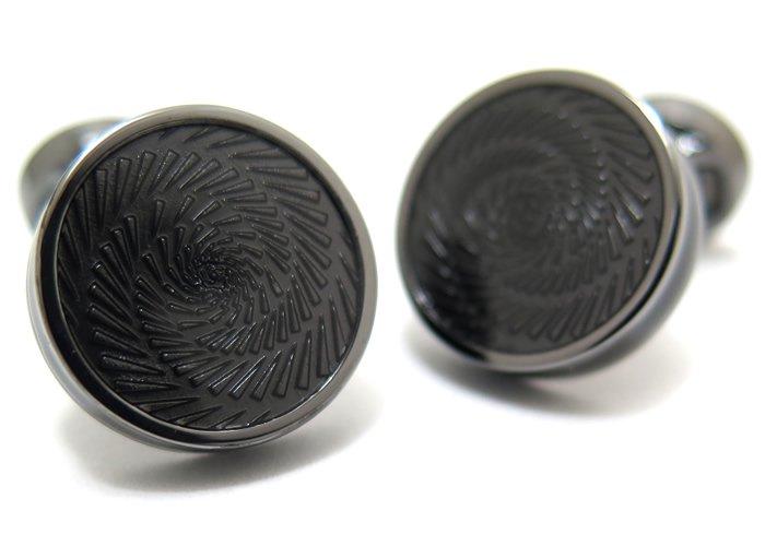 TATEOSSIAN(タテオシアン) エナメル ヴァーティゴアイスカフス(ガンメタル&ブラック)(カフスボタン/カフリンクス) - ブランドの画像