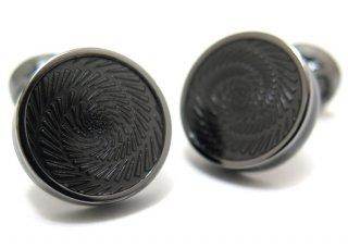 TATEOSSIAN(タテオシアン) エナメル ヴァーティゴアイスカフス(ガンメタル&ブラック)(カフスボタン/カフリンクス) - ブランド