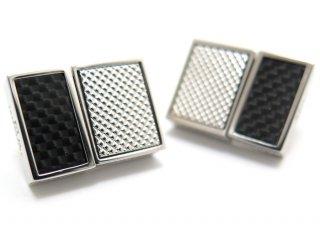 TATEOSSIAN(タテオシアン) カーボンスリムUSBメモリカフス(ロジウム&ブラック、16G+16G)(カフスボタン/カフリンクス) - ブランド