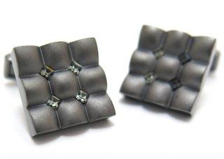 TATEOSSIAN(タテオシアン) クリスタル スクウェアスカラプトカフス(ブラックダイヤモンド)(カフスボタン/カフリンクス) - ブランド