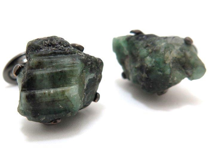 JAN LESLIE(ジャンレスリー) ロウエメラルドオンブラックルテニウムシルバーカフス (カフスボタン/カフリンクス) - ブランドの画像