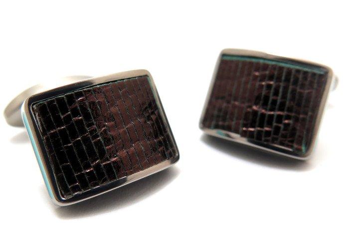 TATEOSSIAN(タテオシアン) チタニウムレザーカフス(ターコイズリップル)(カフスボタン/カフリンクス) - ブランドの画像