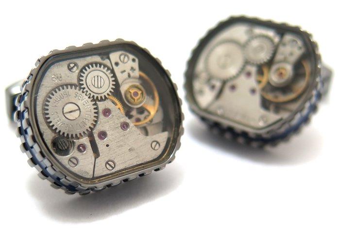 TATEOSSIAN(タテオシアン) メカニカル トノースケルトンギアカフス(ガンメタル&ブルー)(カフスボタン/カフリンクス) - ブランドの画像