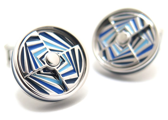 TATEOSSIAN(タテオシアン) ノベルティ ミラージュエナメルカフス(ロジウム&ブルー)(カフスボタン/カフリンクス) - ブランドの画像