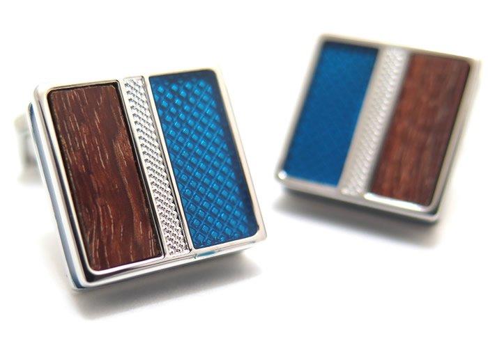 TATEOSSIAN(タテオシアン) エナメル&ウッドカフス(ロジウム&ブルー)(カフスボタン/カフリンクス) - ブランドの画像