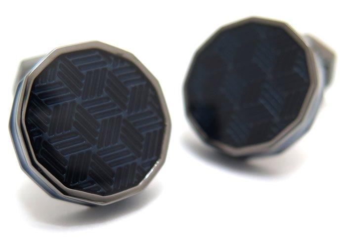 TATEOSSIAN(タテオシアン) エナメル ドデカゴンガンメタルカフス(ブルー)(カフスボタン/カフリンクス) - ブランドの画像