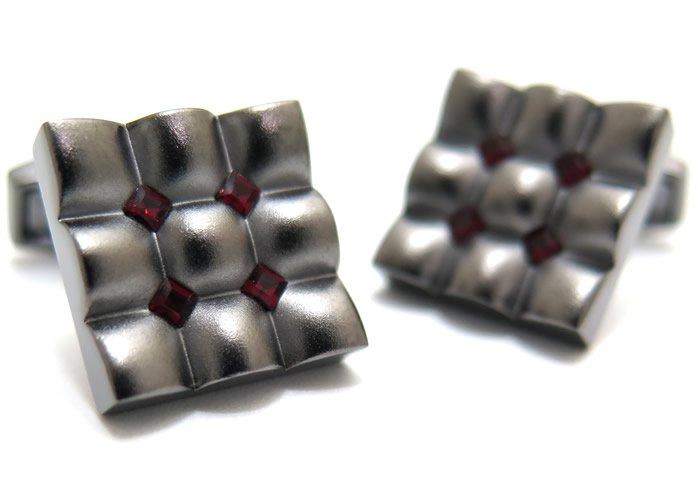 TATEOSSIAN(タテオシアン) クリスタル スクウェアスカラプトカフス(シャム)(カフスボタン/カフリンクス) - ブランドの画像