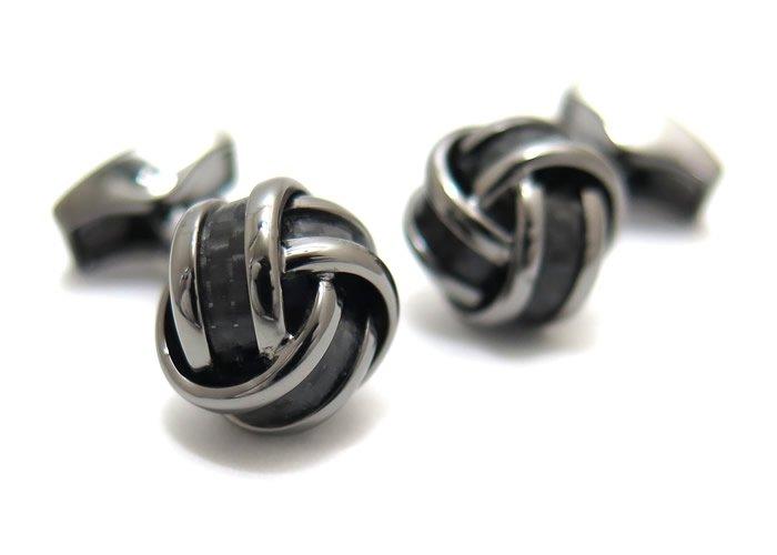TATEOSSIAN(タテオシアン) カーボンファイバー ノットカフス(ガンメタル&ブラック)(カフスボタン/カフリンクス) - ブランドの画像