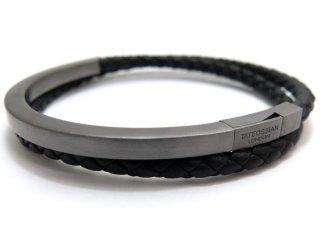 TATEOSSIAN(タテオシアン)レザーシルバーメッゾノワールブレスレット(ブラックロジウム&ブラック) - ブランド