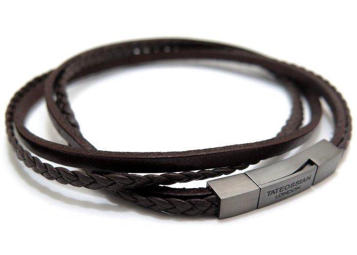 TATEOSSIAN(タテオシアン)レザーシルバーフェットゥチーネマルチブレスレット(ブラックロジウム&ブラウン) - ブランドの画像