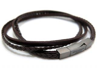 TATEOSSIAN(タテオシアン)レザーシルバーフェットゥチーネマルチブレスレット(ブラックロジウム&ブラウン) - ブランド