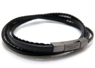 TATEOSSIAN(タテオシアン)レザーシルバーフェットゥチーネマルチブレスレット(ブラックロジウム&ブラック) - ブランド