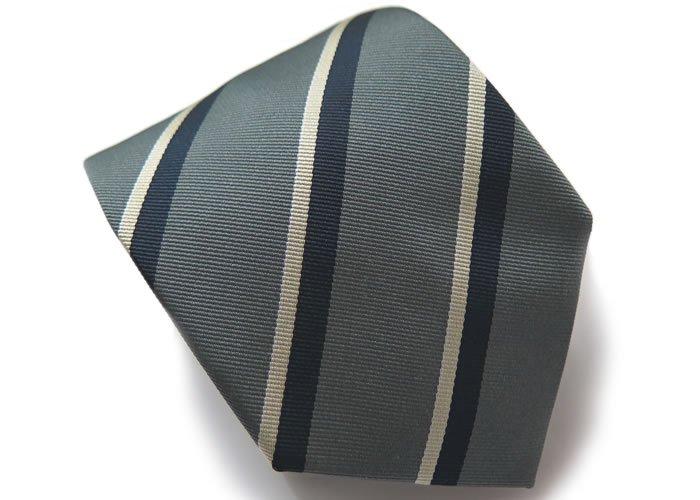 TINO COSMA (ティノコズマ)レジメンタル ストライプ シルク ネクタイ(ダークグレー)(ネクタイ/タイ) - ブランドの画像