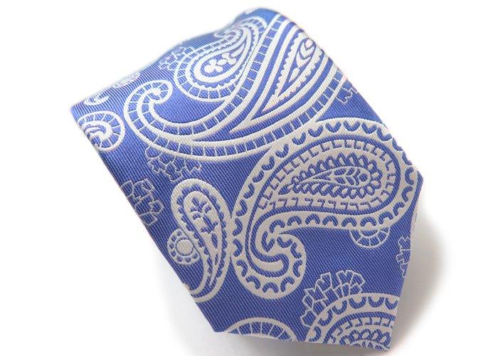 SIMON CARTER(サイモンカーター) グラフィック ペイズリー シルク ネクタイ(ブルー)(ネクタイ/タイ) - ブランドの画像