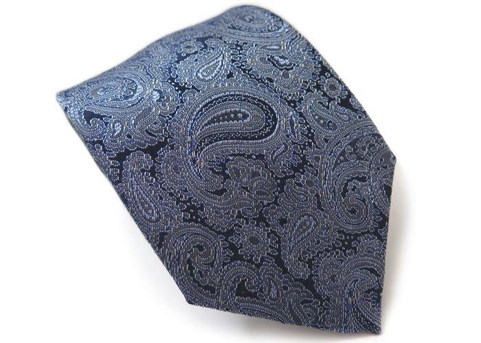 SIMON CARTER(サイモンカーター) ペイズリー ブロケイド シルク ネクタイ(ブルー)(ネクタイ/タイ) - ブランドの画像