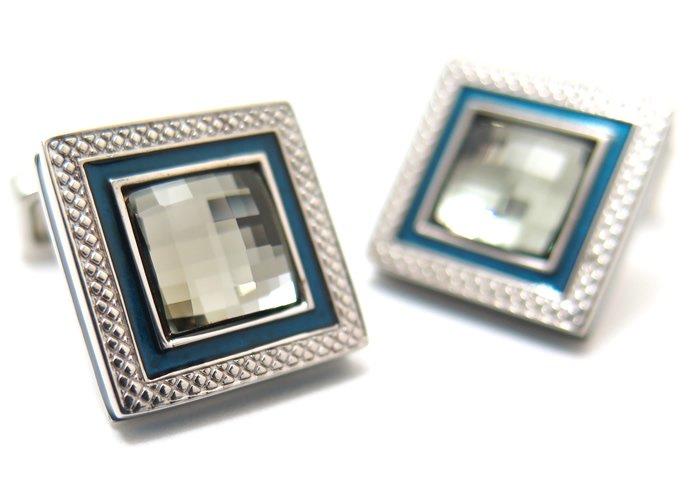 TATEOSSIAN(タテオシアン) クリスタル クアドラートロジウムスワロフスキーカフス(グレイ) 世界限定303セット(カフスボタン/カフリンクス) - ブランドの画像