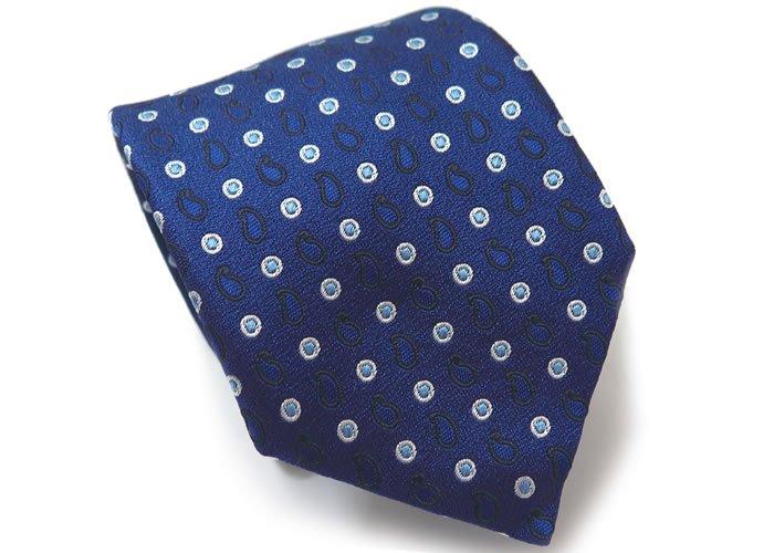 TINO COSMA (ティノコズマ)ペイズリー ドット シルク ネクタイ(ブルー)(ネクタイ/タイ) - ブランドの画像