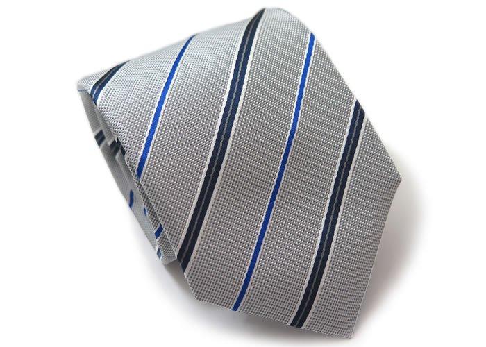 TINO COSMA (ティノコズマ)レジメンタル ストライプ ブルーライン シルク ネクタイ(シルバー)(ネクタイ/タイ) - ブランドの画像