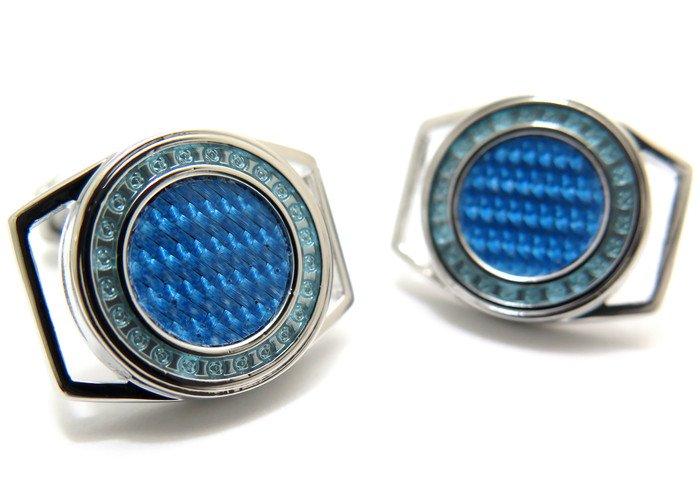 THOMPSON (トンプソン)  カーブドカーボンカフス(ブルーアルテックス&ブルーエナメル) (カフスボタン/カフリンクス) - ブランドの画像