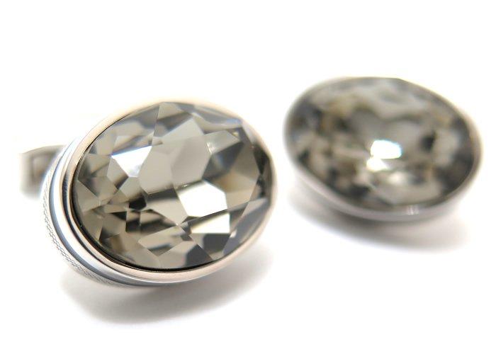 TATEOSSIAN(タテオシアン) クリスタル オーバルスワロフスキーカフス(ブラックダイヤモンド&グレーエナメル) 世界限定72セット(カフスボタン/カフリンクス) - ブランドの画像