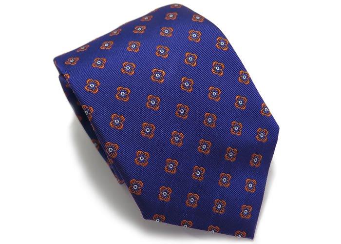 TINO COSMA (ティノコズマ)ファイン フラワー パターン シルク ネクタイ(ブルー)(ネクタイ/タイ) - ブランドの画像
