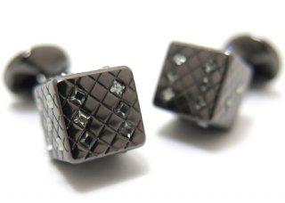 TATEOSSIAN(タテオシアン) クリスタル ダイススワロフスキーカフス(ガンメタル&ブラックダイヤモンド)(カフスボタン/カフリンクス) - ブランド