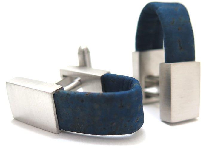 TATEOSSIAN(タテオシアン) ノベルティ オポルトラップアラウンドカフス(ロジウム&ブルーコルク) (カフスボタン/カフリンクス) - ブランドの画像