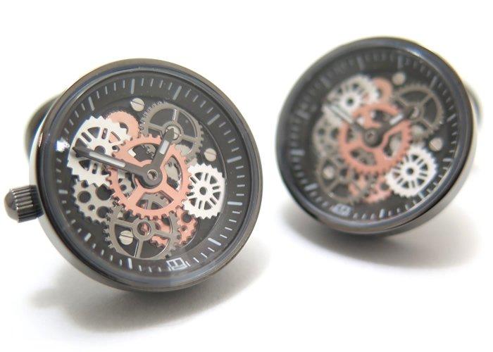 TATEOSSIAN(タテオシアン) メカニカル ビンテージギア時計カフス(ガンメタルIPスティール) 世界限定100セット(カフスボタン/カフリンクス) - ブランドの画像