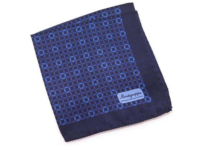 MONTEGRAPPA(モンテグラッパ) 3フォルド サテン ポケットスクエア(ブルー)(ハンカチ/チーフ) - ブランドの画像